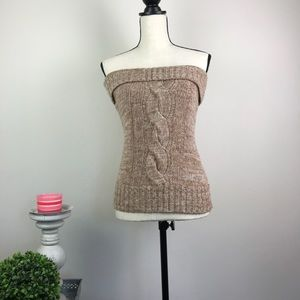 Trina Turk Cable Sweater Tube Wool Top Size M